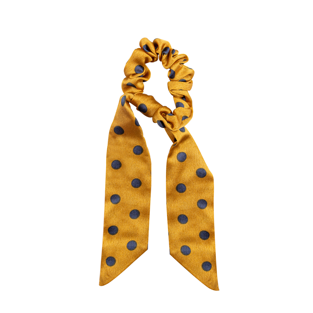 Scrunchies With Hair Band Mustard  Yellow Polka Dot Scarf