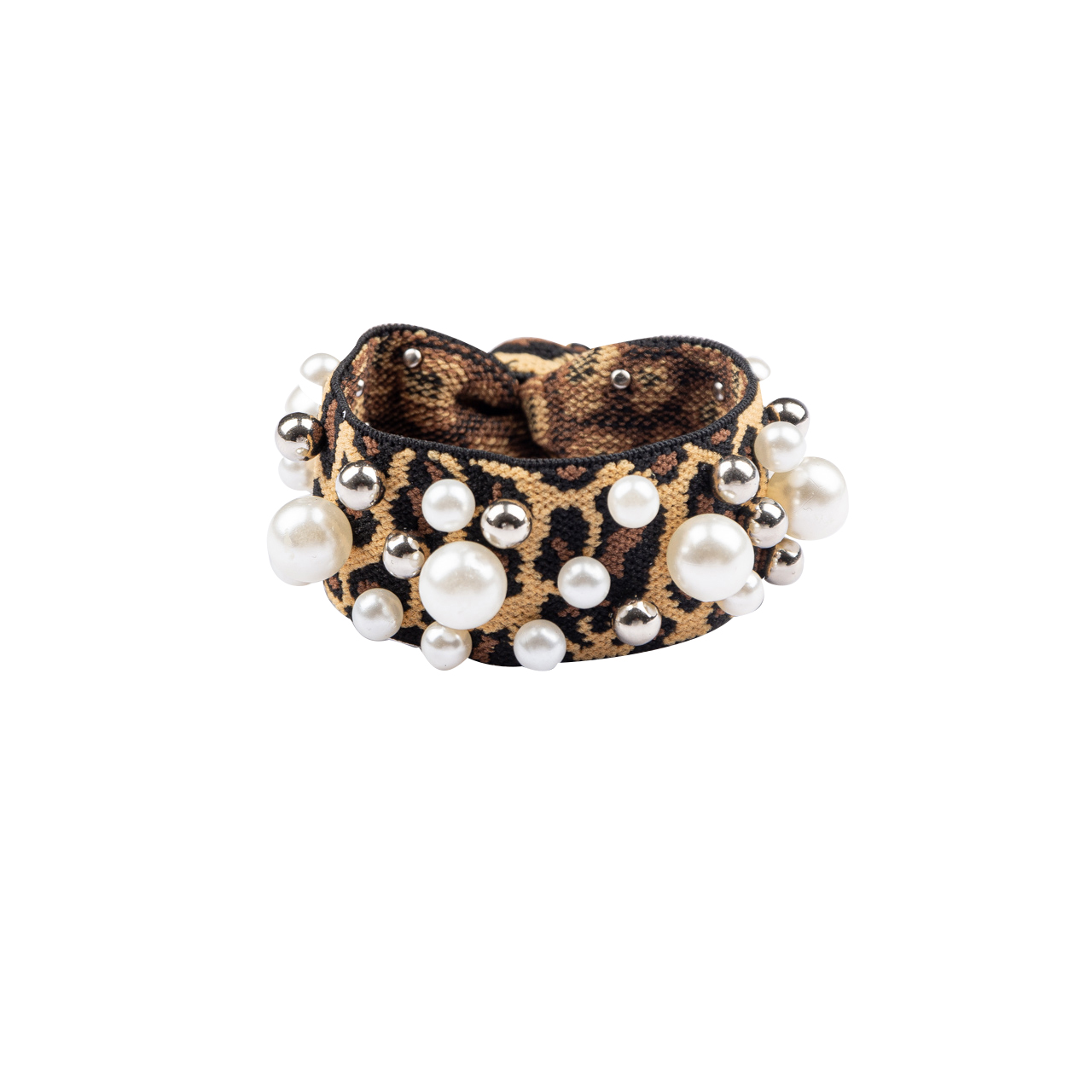 Hair Rubber Leopard With Pearls