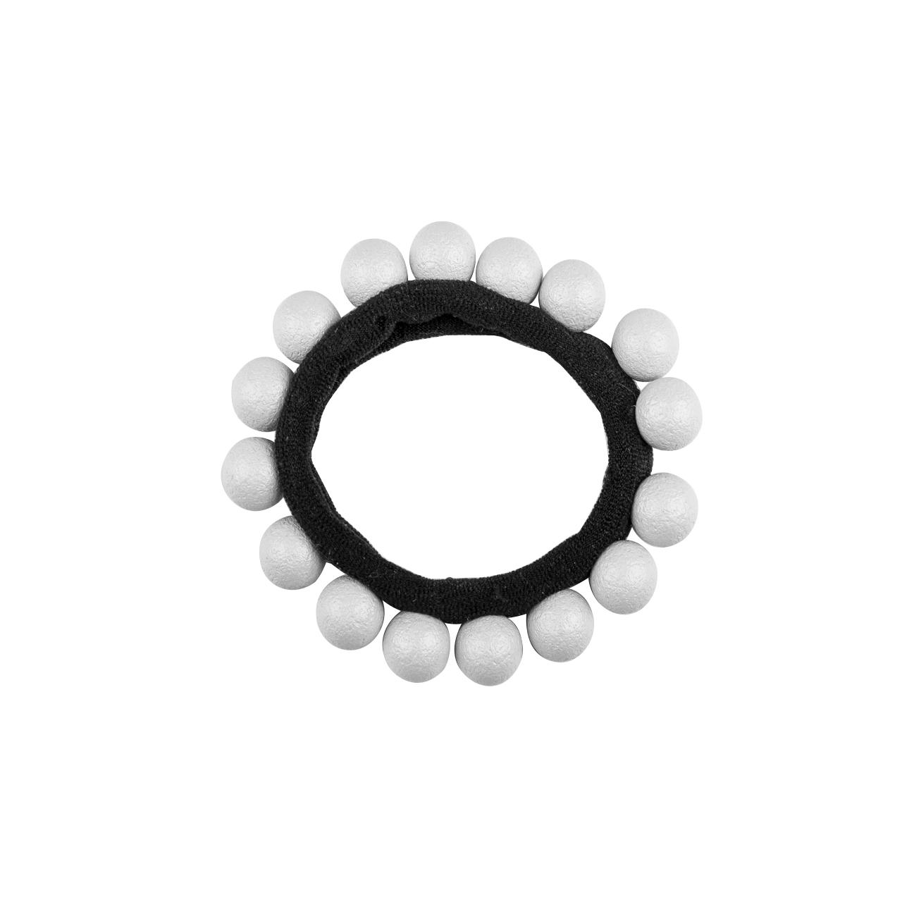 Hair Rubber Black White Pearls