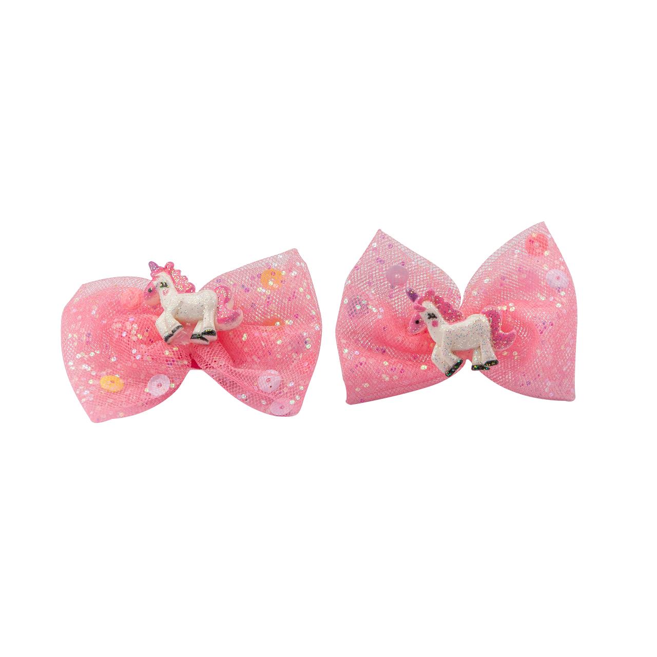 Children's Hair Rubber Pink Little Horse Set 2 Psc
