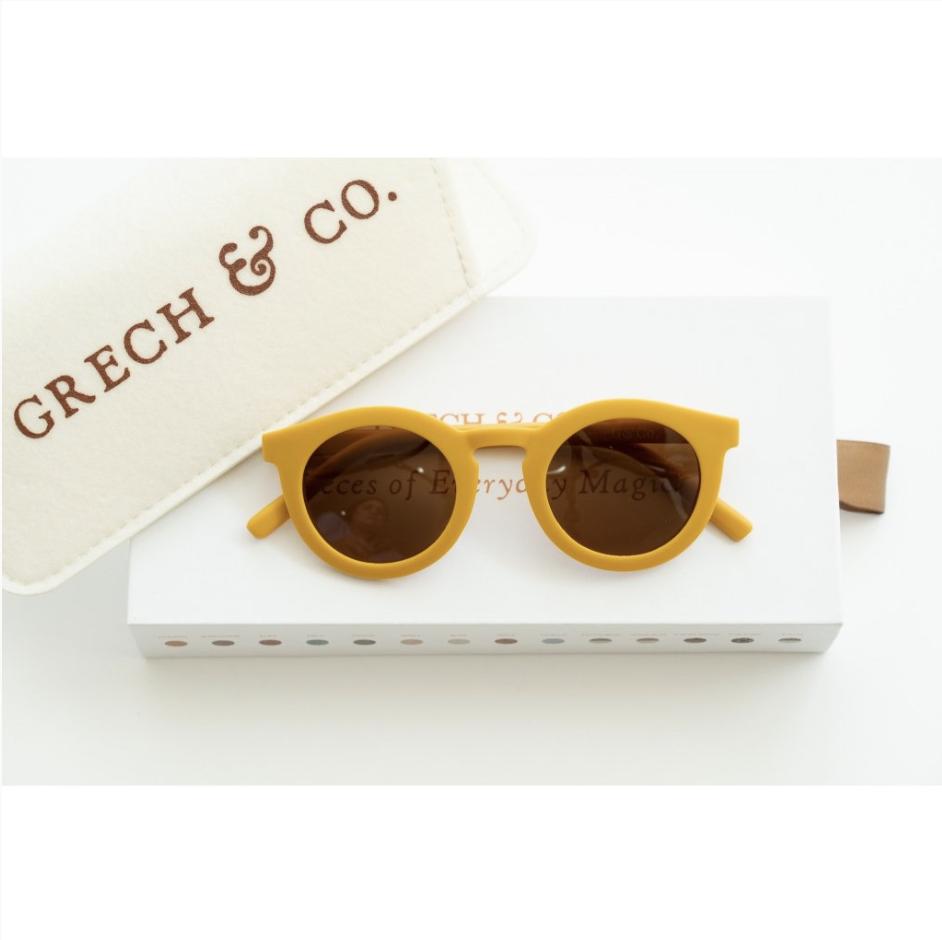 Adult Recycled Plastic Sunglasses Golden 14.5cm x 15cm