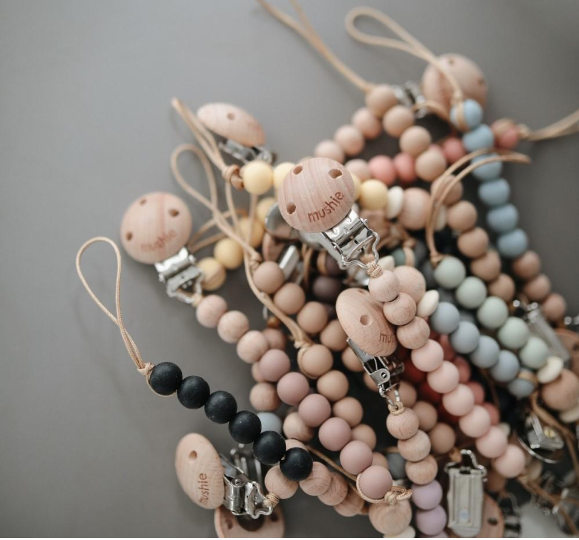 Pacifier Clips Halo Muted Yellow Mushie