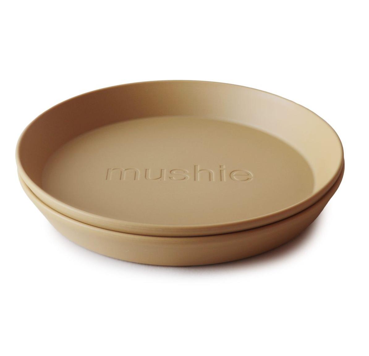 Set of 2 Round Dinnerware Plates Mustard