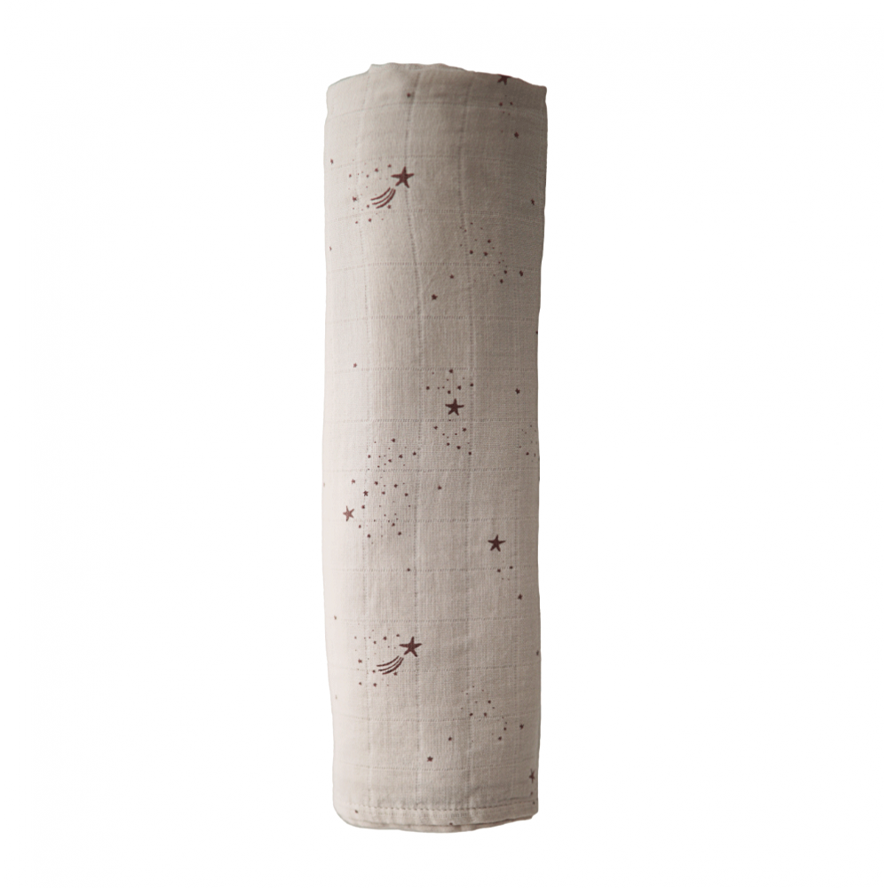 Muslin Swaddle Blanket Organic Cotton Falling Stars Mushie 120x120cm