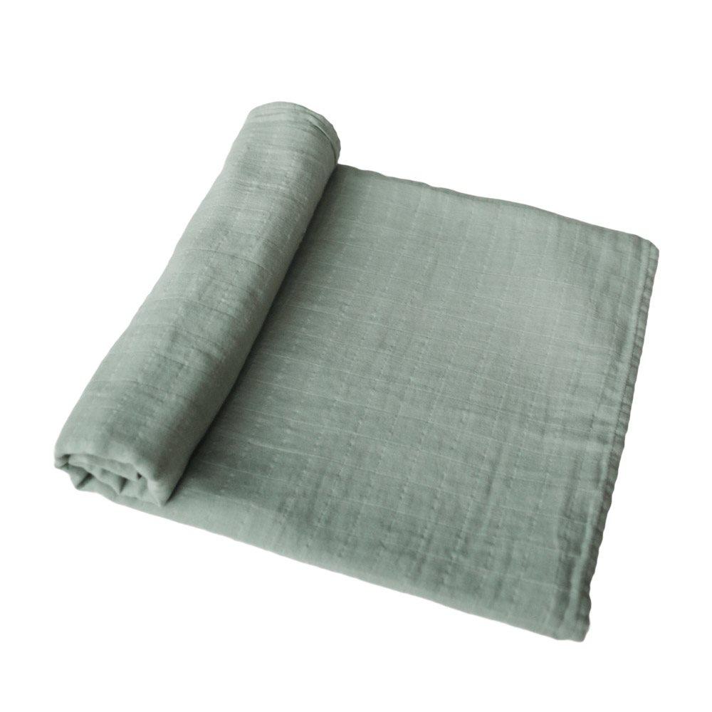 Muslin Swaddle Blanket Organic Cotton Sage Mushie
