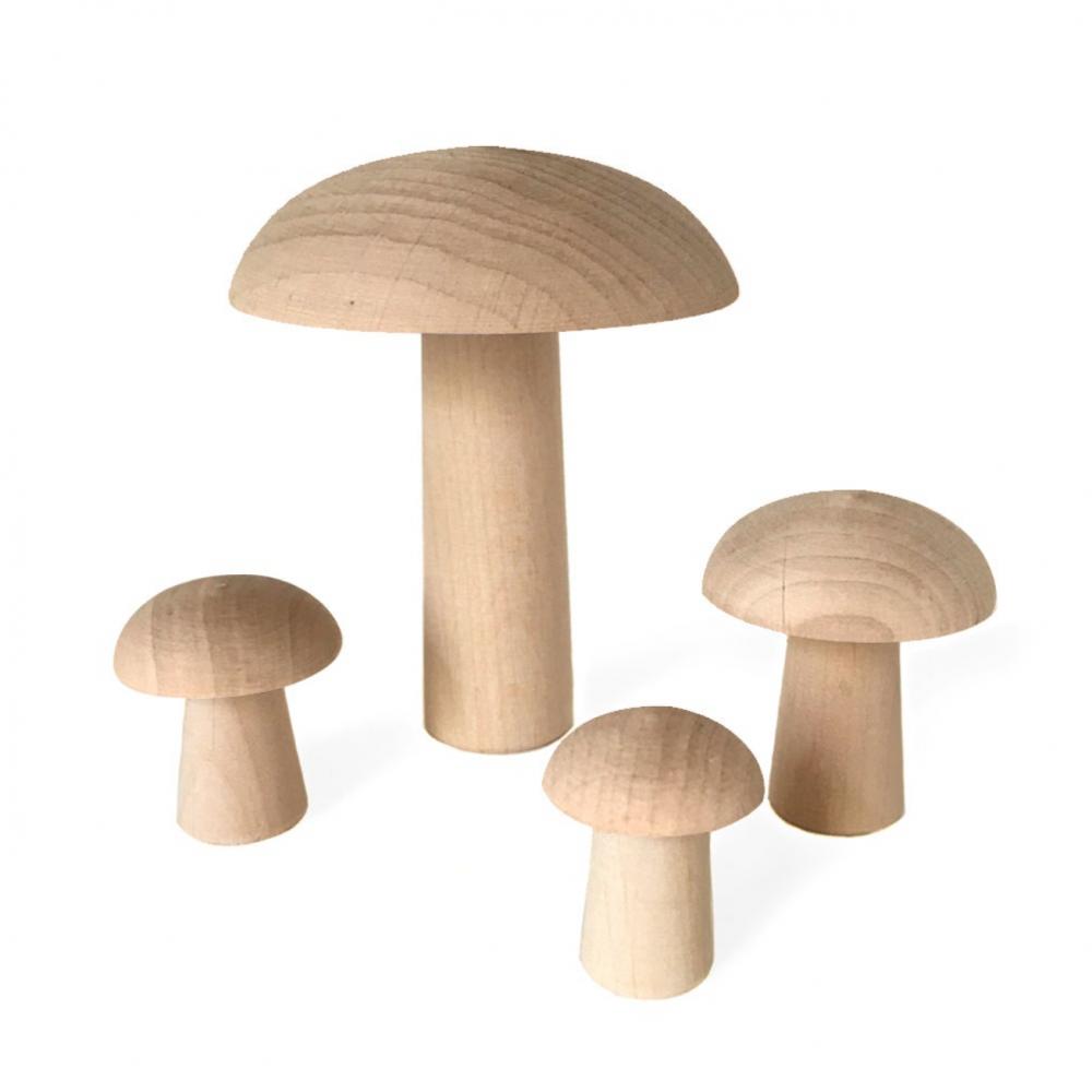 Wooden Mushrooms De Paris Natural  Set 4 pcs