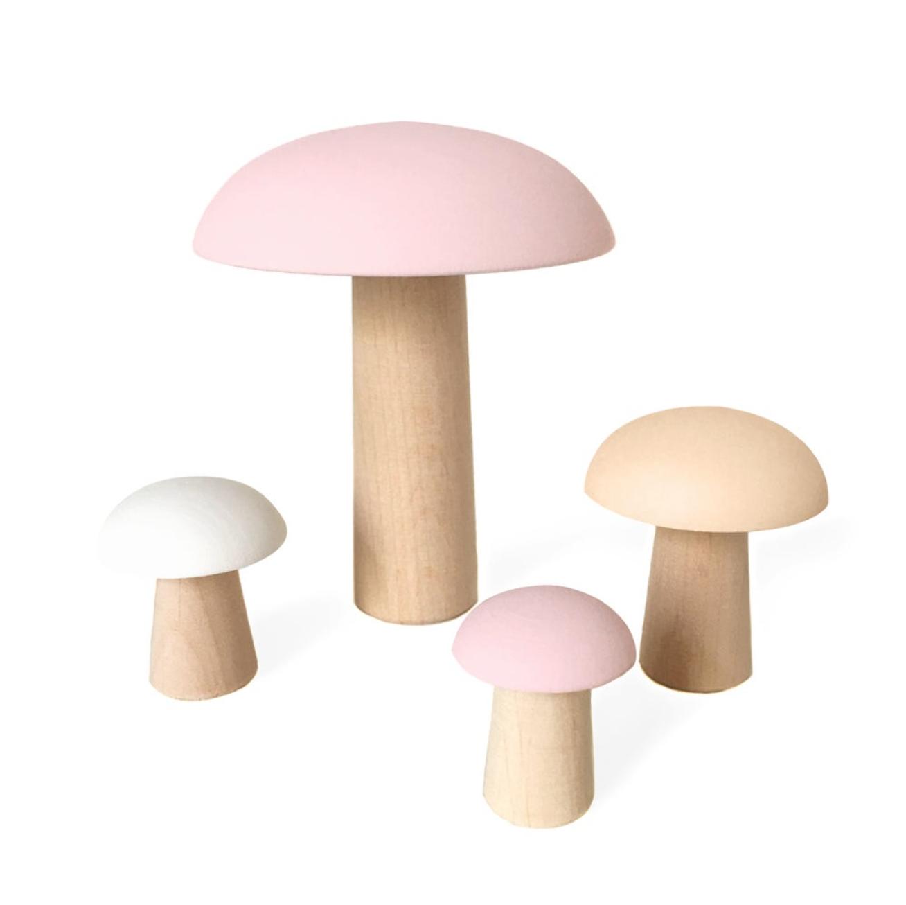 Wooden Mushrooms De Paris Baby Pink  Set 4 pcs