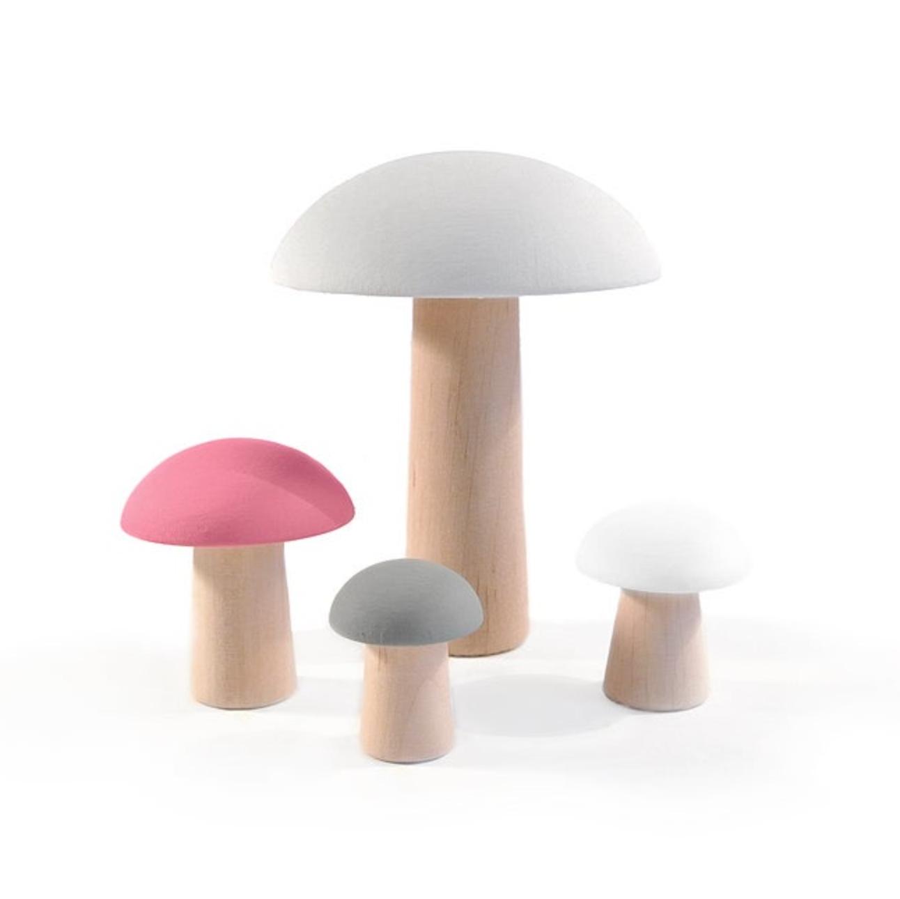 Wooden Mushrooms De Paris Pink Set 4 pcs