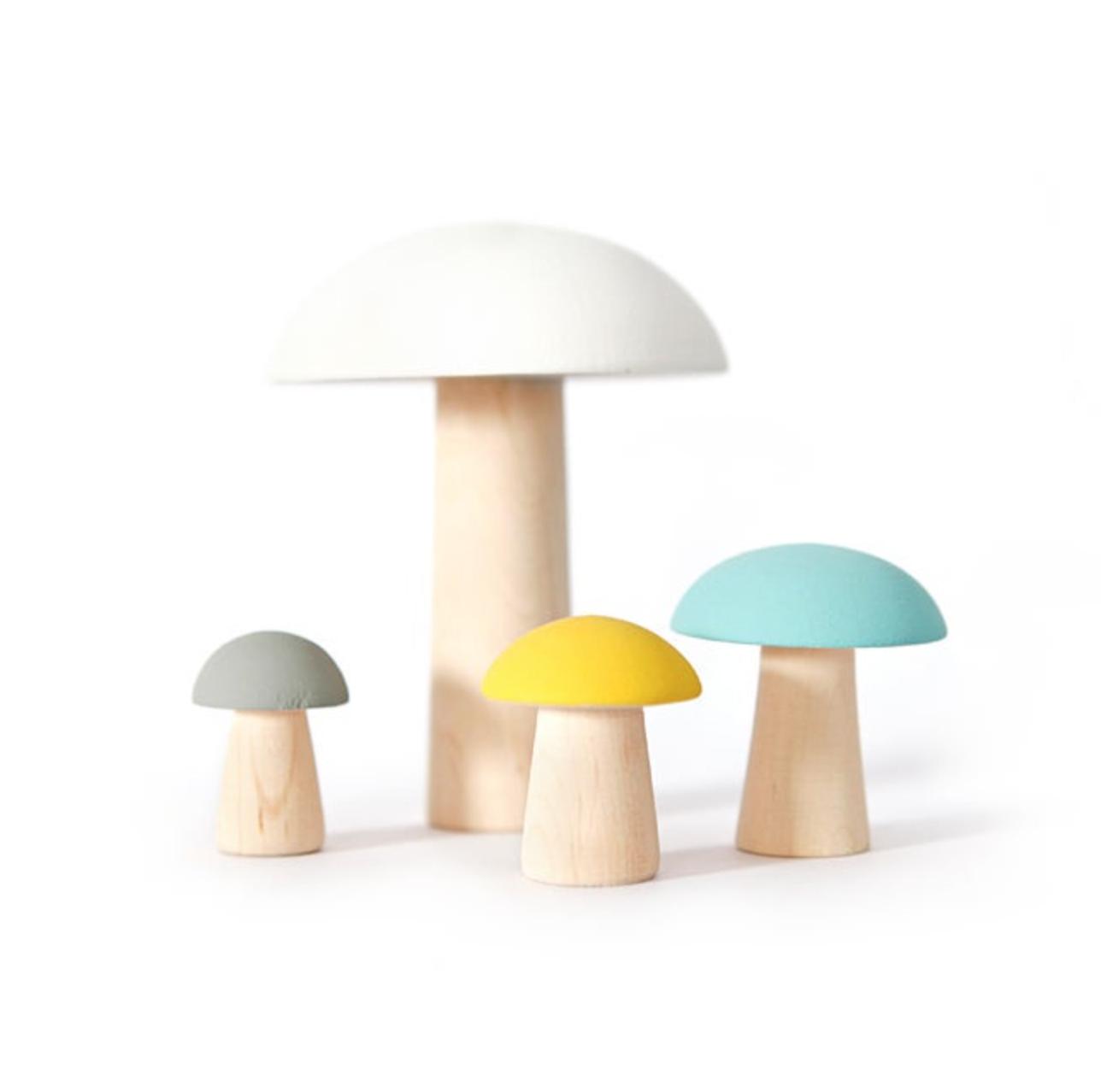 Wooden Mushrooms De Paris Yellow Set 4 pcs