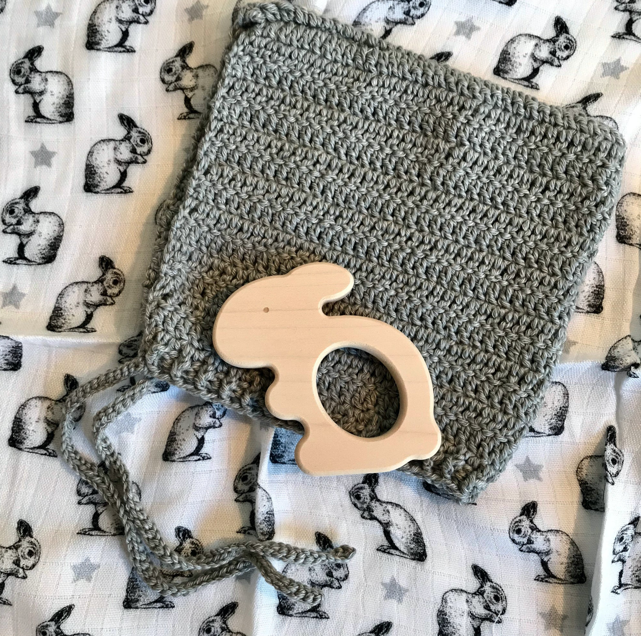 Swaddle Gift Set With Rabbit Teether