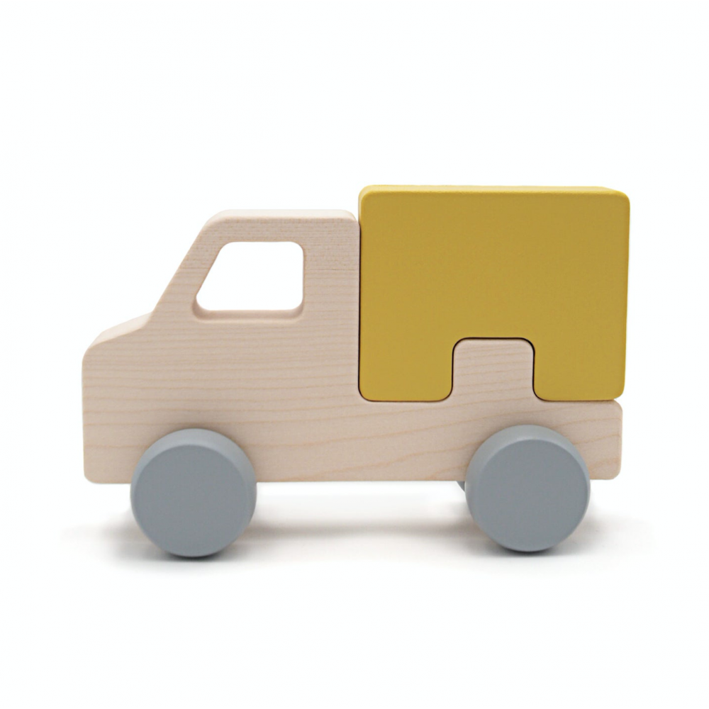 Wooden Puzzle Truck  Yellow