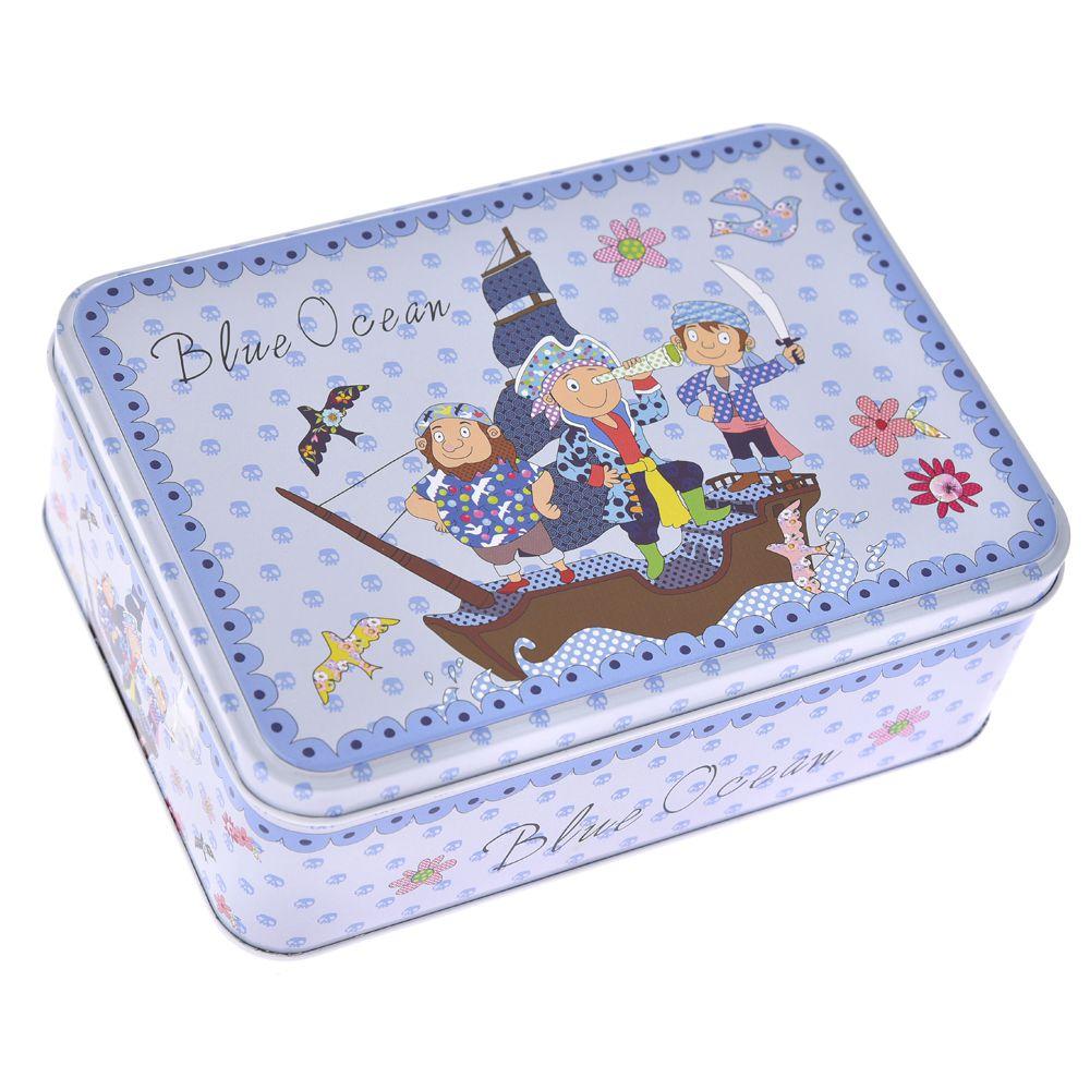 Metallic Blue Box With Pirates 19x13x7 cm