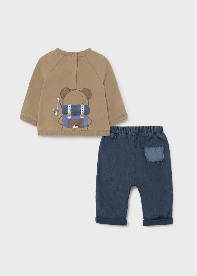 Baby Boys Long Sleeve Brown Bear Hoodie and Denim Pants Set