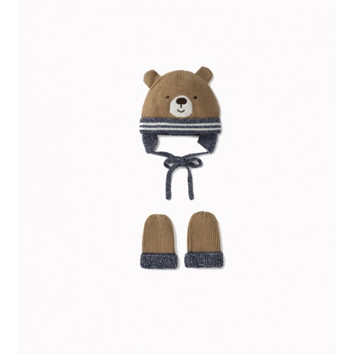 Baby Hat Set With Bear Gloves