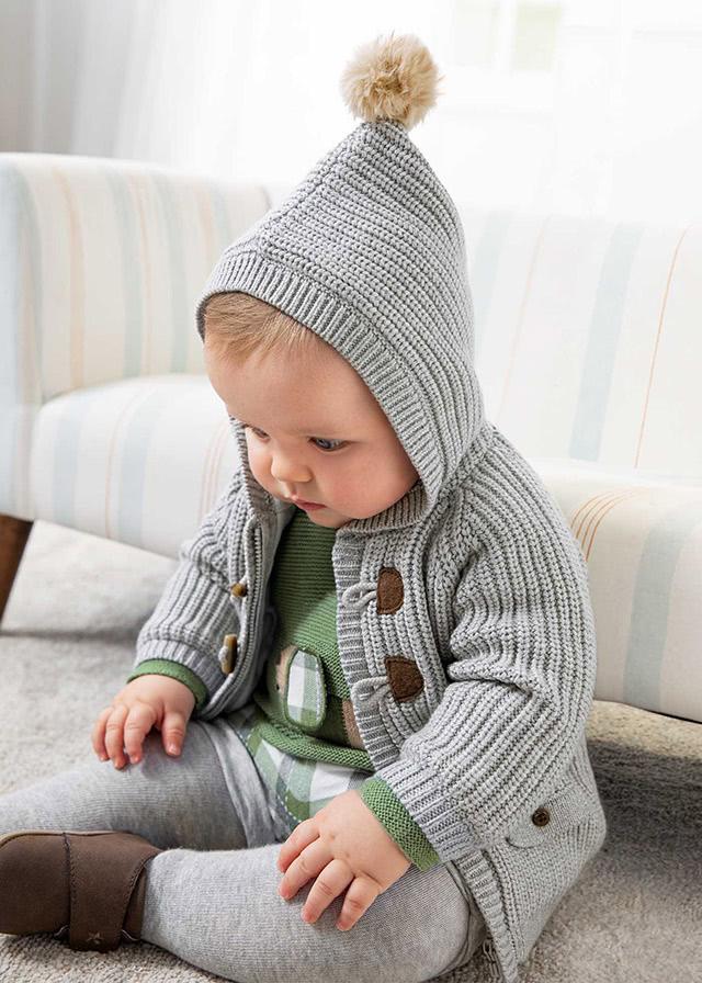 Woven knit jacket newborn boy
