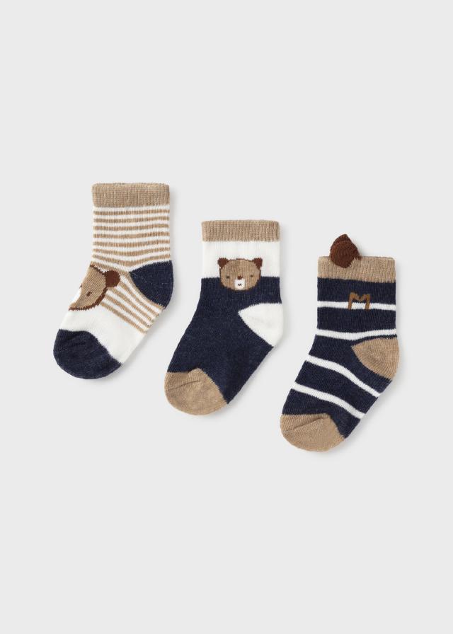Set of 3 socks for newborn boy
